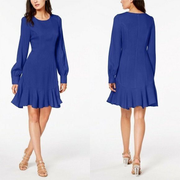 Bar III Dresses & Skirts - Bar III Cobalt Blue Ruffle-Hem Fit Flare LS Dress